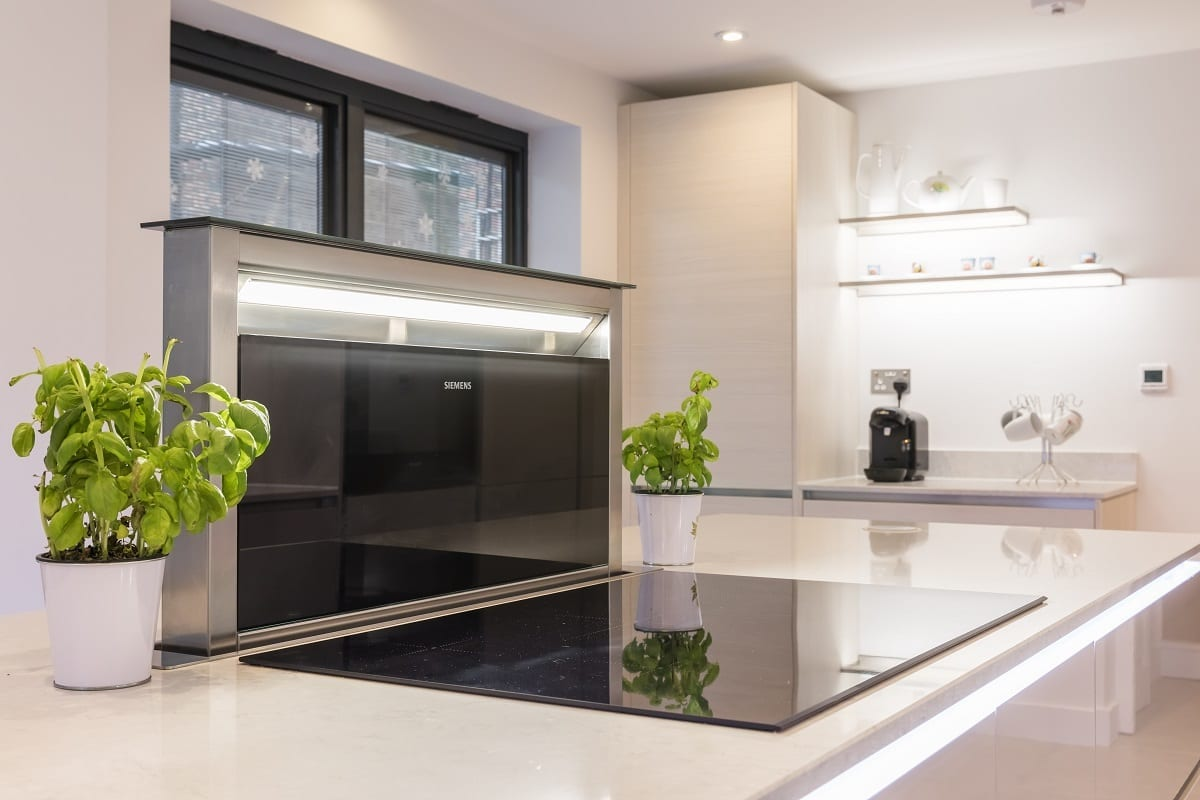 Open downdraft extractor fan and induction hob | Qudaus Living, Sutton Coldfield