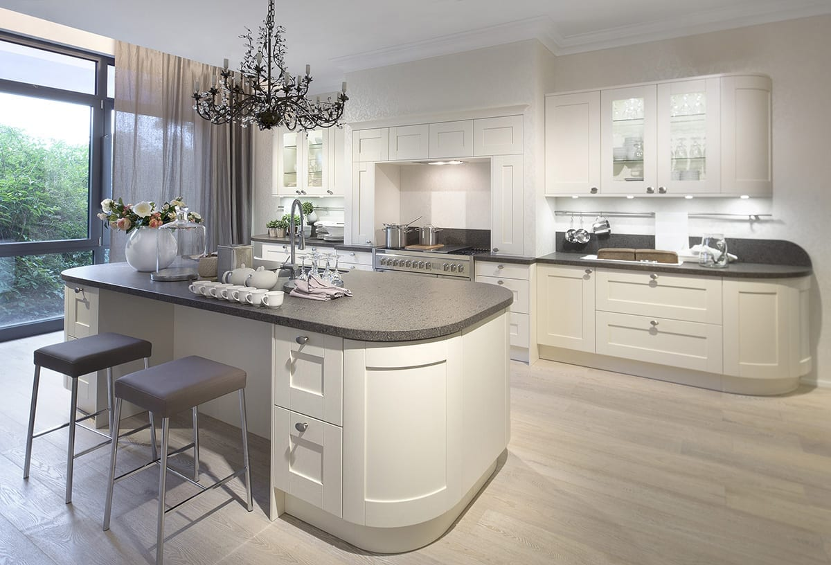 4. Cream curved Shaker kitchen with island | Qudaus Living, Sutton Coldfield