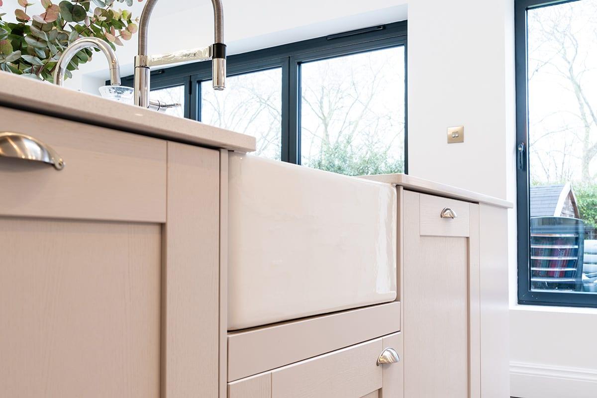 Shaker kitchen with Butler sink | Qudaus Living, Sutton Coldfield